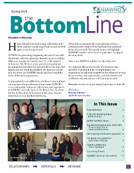 Spring 2018 issue of NJAWBO's The Bottom Line
