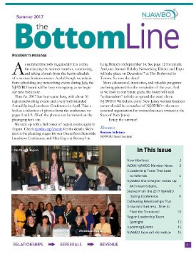 Summer 2017 issue of NJAWBO's The Bottom Line