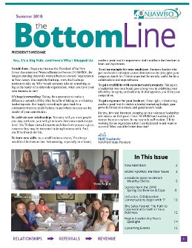 Summer 2018 issue of NJAWBO's The Bottom Line