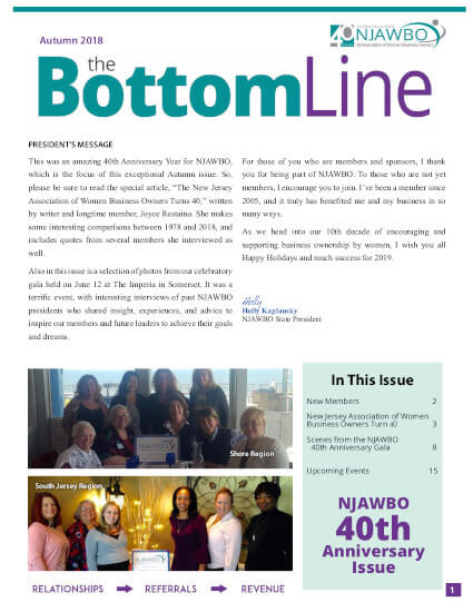 Autumn 2018 issue of NJAWBO's The Bottom Line