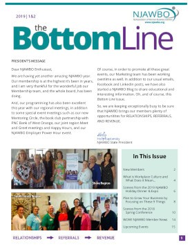 2019 1|2 issue of NJAWBO's The Bottom Line